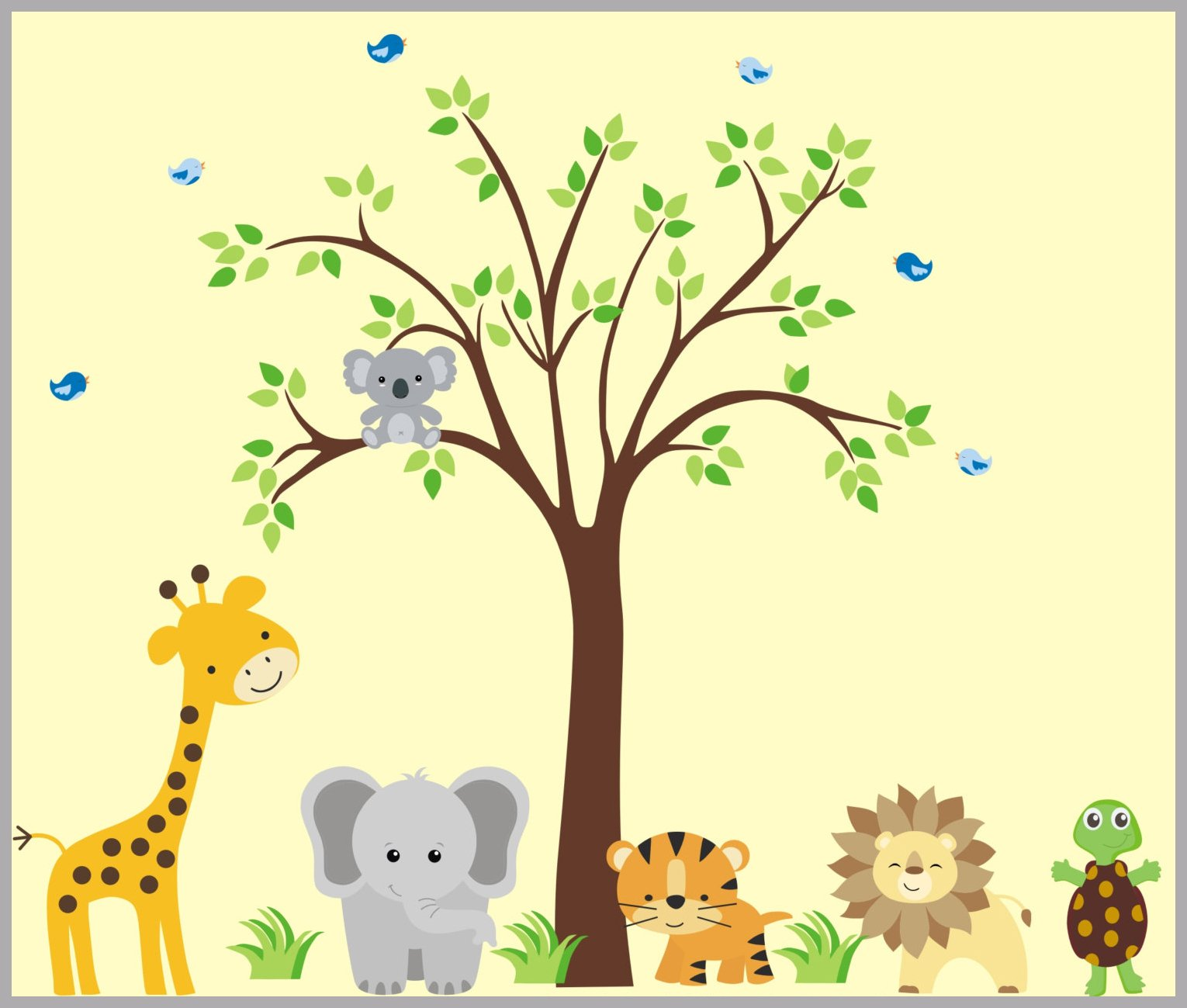 Jungle Animals with Cuddly Koala Bear - Nursery Wall Decals - Animal ...
