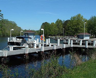 State Park marina with boat slips and launch