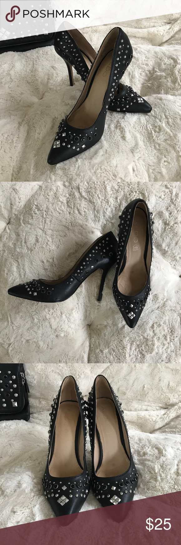 Aldo heels Black embellished heels. Worn only a couple times. Unfortunately missing a couple gems (pictures). Yes, there is a matching bag! Aldo size: EUR 38/US 7.5. Aldo Shoes Heels