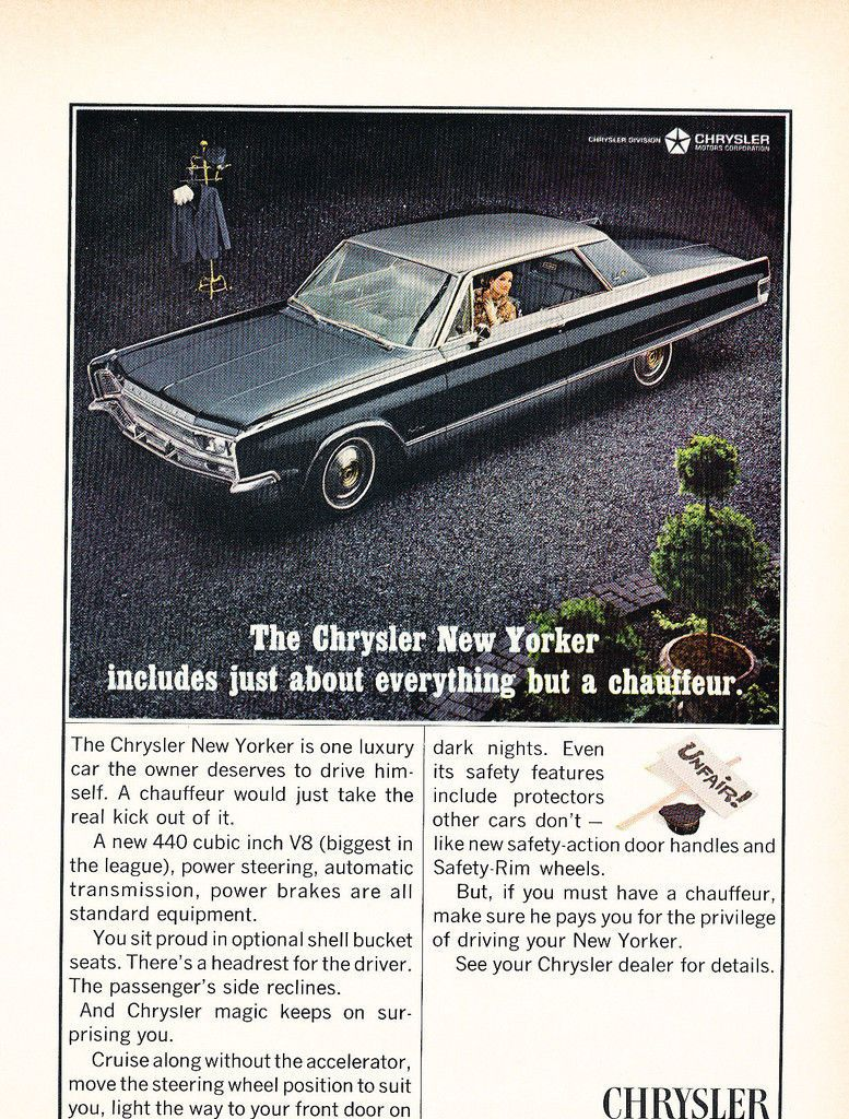 1966 Chrysler New Yorker 2 Door Hardtop Car Advertising