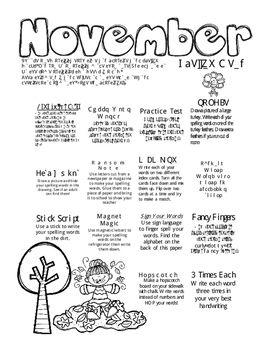 November Spelling Menu | November | Spelling menu, Spelling