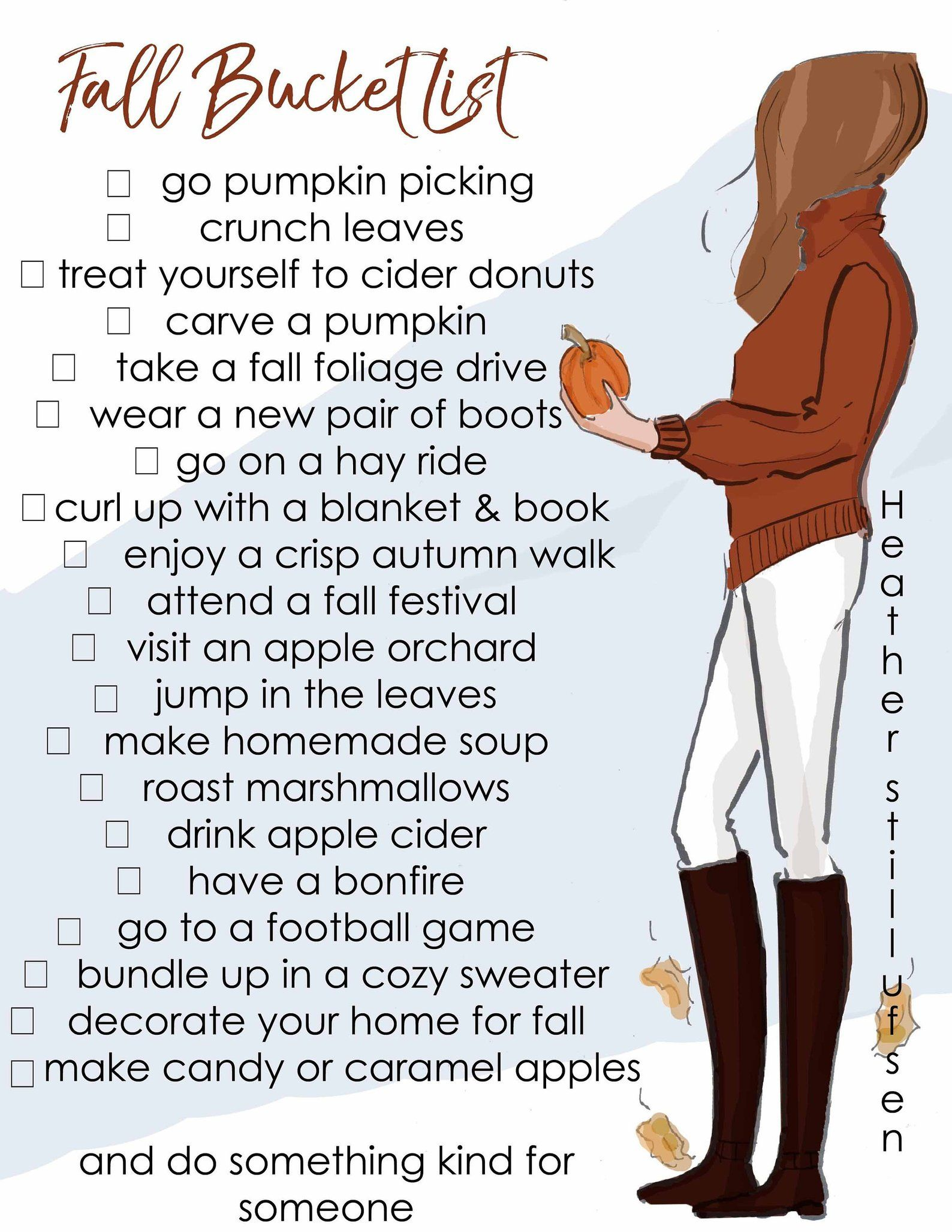 Fall Bucket List - Printable - Heather Stillufsen Autumn - Bucket List