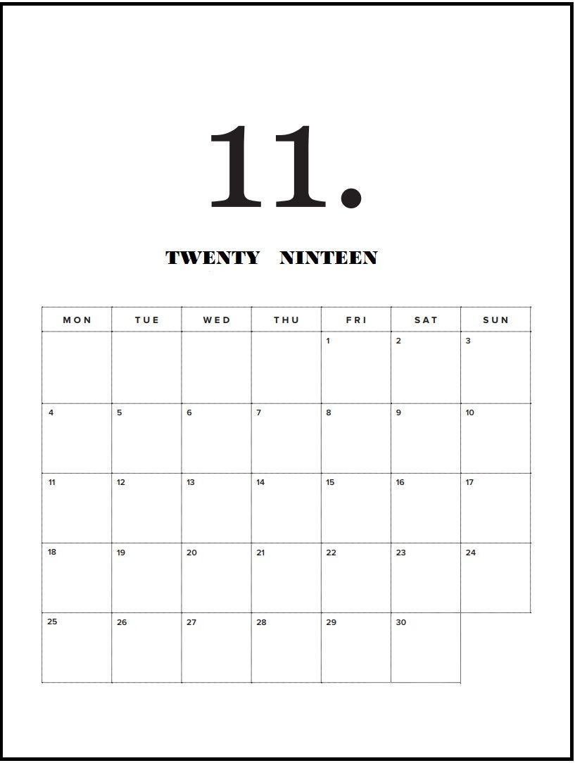 December 2019 Modern Typography Calendar Modern Minimal November 2019 Calendar | calendar 2019 | Minimal