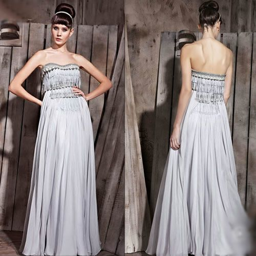 Unique Gray Grey Pleated Roaring 20s Style Flapper Evening Ball