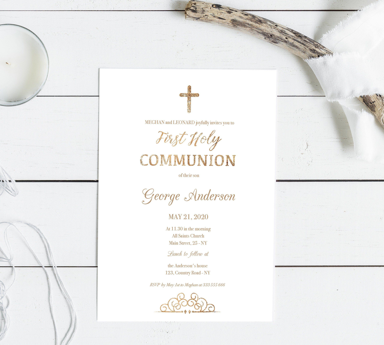 Gold Elegant First Communion Invitation Printable For Boy And Etsy First Communion Invitations Communion Invitations Communion Invitations Girl