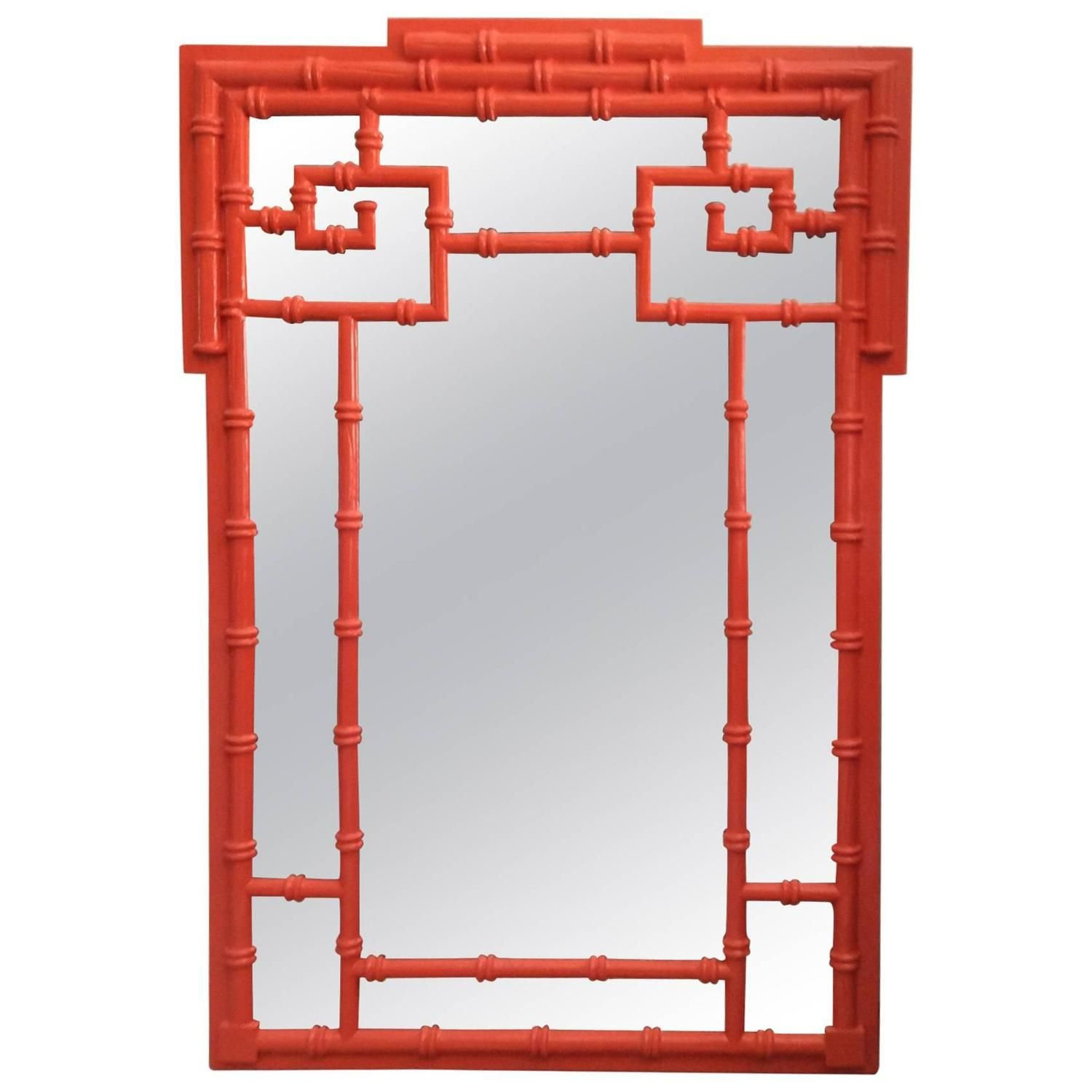 Greek key vintage newly lacquered orange faux bamboo wall mirror greek key vintage newly lacquered orange faux bamboo wall mirror chinoiserie amipublicfo Gallery