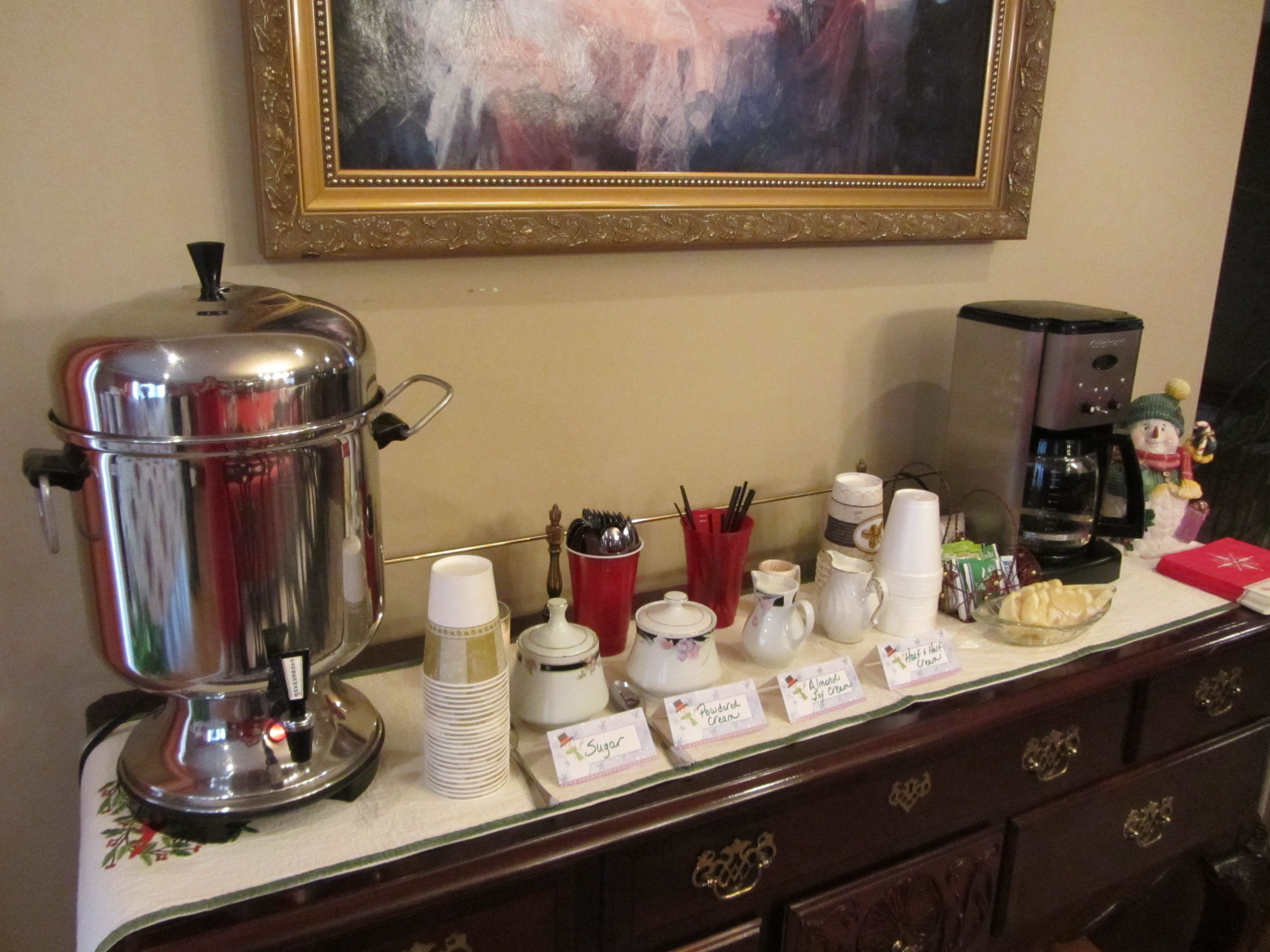 Coffee and tea station for a party coffee shop coffee