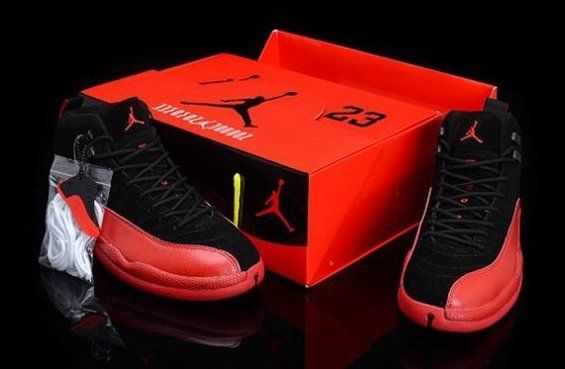 Cheap Disocunt Nike Air Jordan 12 XII Mens Shoes 2013 New Black Red