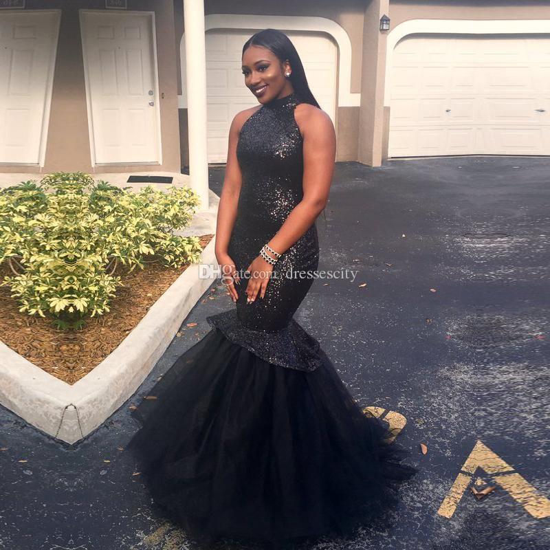 High Neck Top Sequined Little Black Dresses Long Mermaid Prom Dress