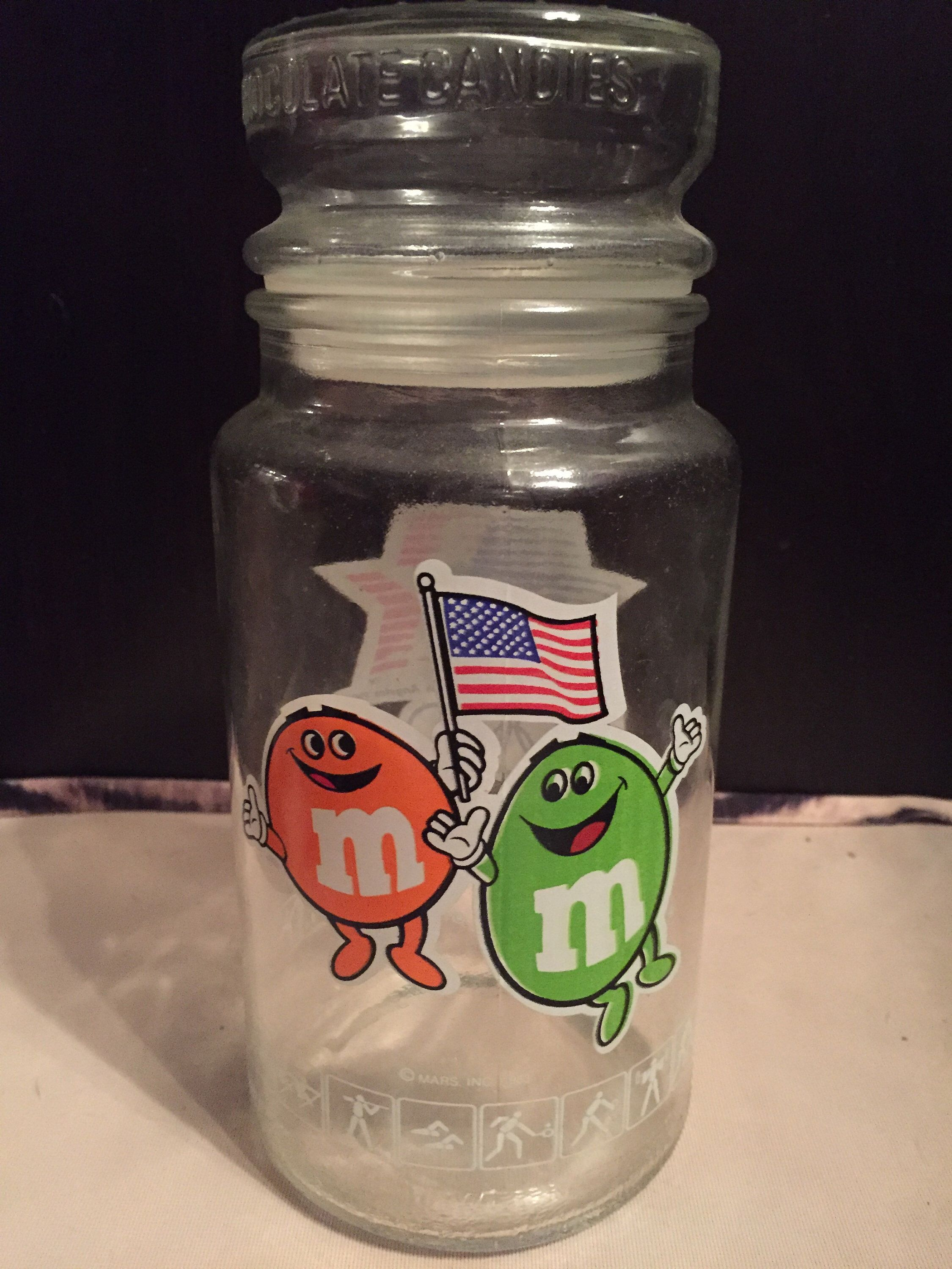 1980 Olympic M&Ms Glass Canister Jar American Team USA