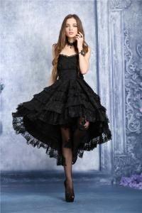 e4dc3106d33 STEAMPUNK STORY Robe bustier noire mi longue bouffante dentelle fleurie  lolita gothique vampire
