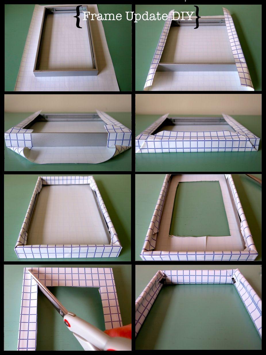 Frame Update Using Contact Paper Diy Homedecor Crafty Frame Update Diy Frame Photo Craft