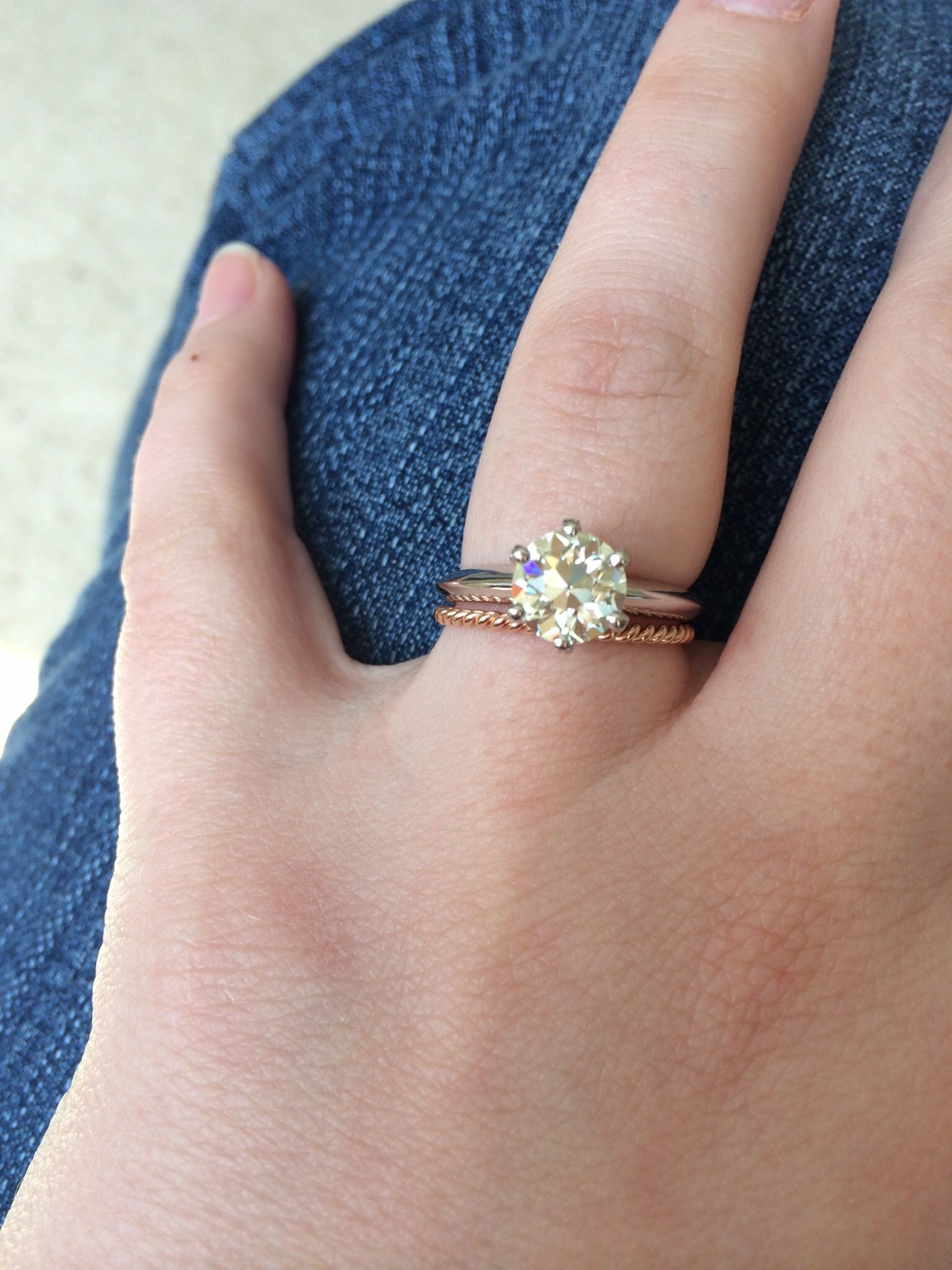 Simple engagement ring, braided band.