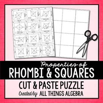 Properties of Rhombi and Squares Cut and Paste Puzzle | My TpT Store ...