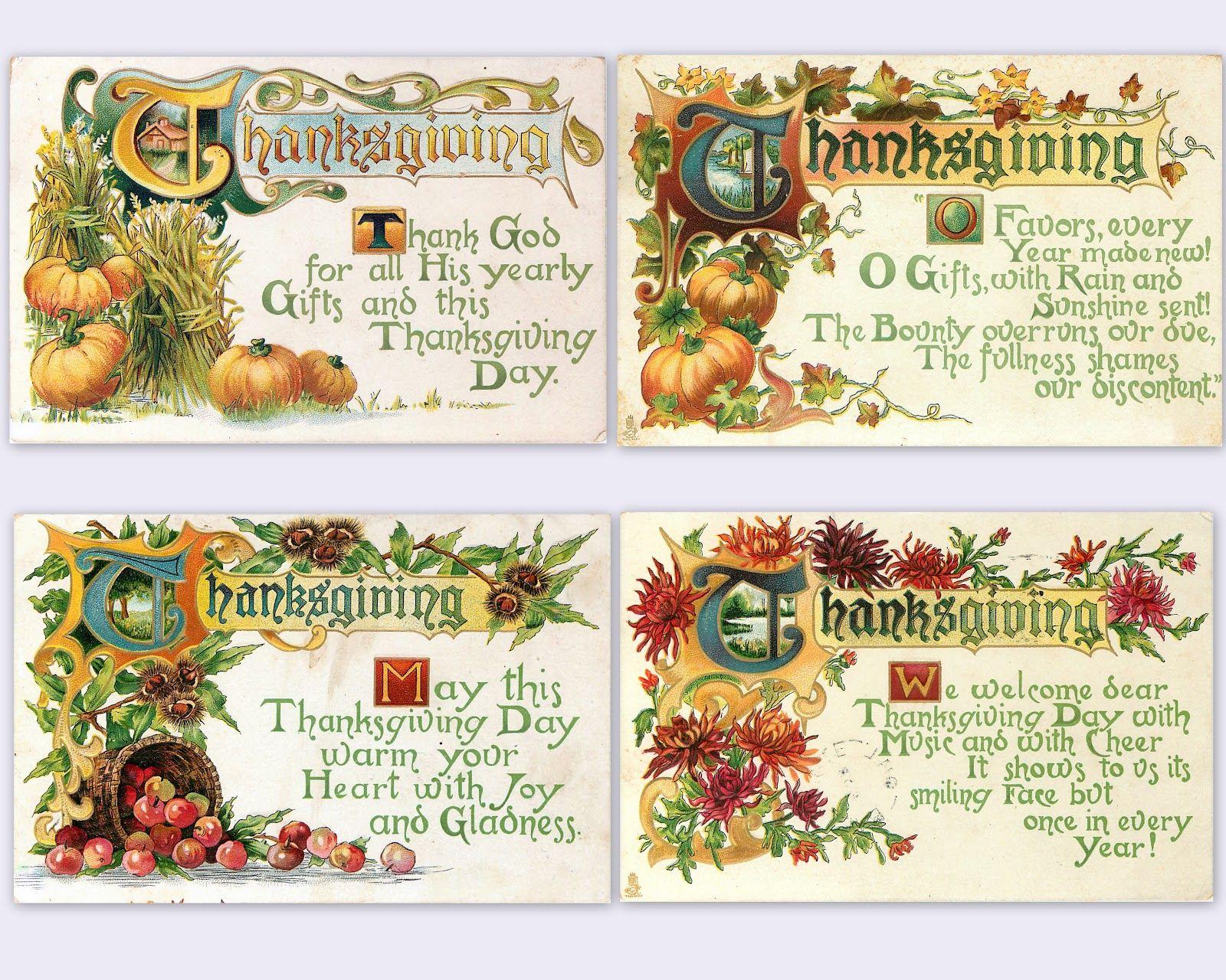 Free) Vintage Thanksgiving postcards ~ beautiful set