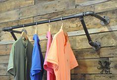 Für Sanitär, industrielle, Vintage Kleidung, Kleidung, Garderobe, Ironwoodstache, Rack, industriellen Rohr Regal