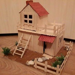 35 So-Adorable Popsicle stick craft house designs for Fun