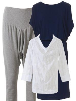 burda style, Schnittmuster, Topseller im März 2015 -  Kombi-Set aus einer weiten Sarouelhose mit breiter Formpasse und Bündchen am Saum, einem Jerseykleid mit raffiniertem Schnitt in Wasserfall-Optik sowie einem Shirt mit angesetztem Kragen und Wasserfallausschnitt