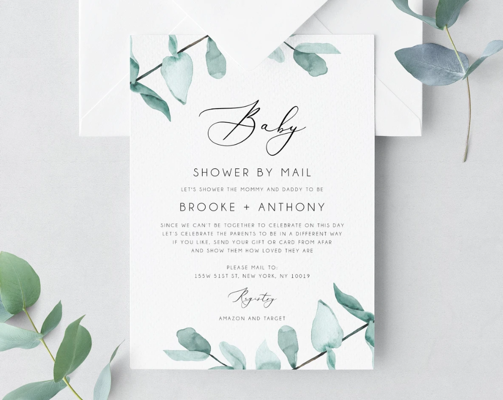 Baby Shower By Mail Template Social Distancing Eucalyptus Baby Shower Invitation Long Distance Baby Shower Template Templett B21 Baby Shower Templates Long Distance Baby Shower Virtual Baby Shower Invitation