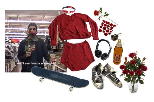 """don't ever trust a scene girl"" by lavelllan ❤ liked on Polyvore featuring Converse, Eres, Nixon and Nearly Natural"
