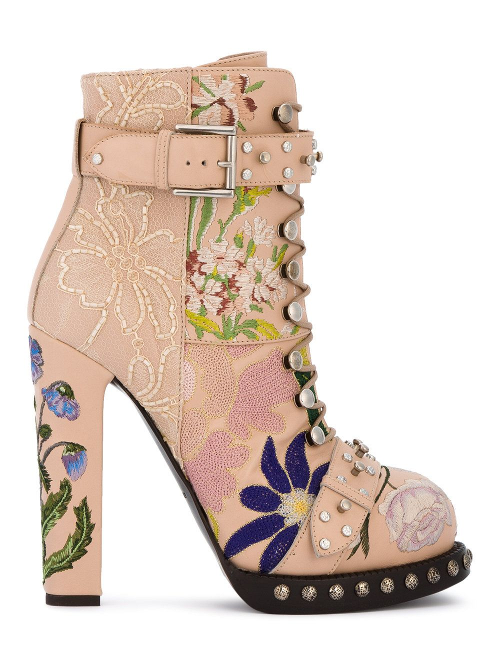 Alexander McQueen Medieval Embroidered boots with Bicolour
