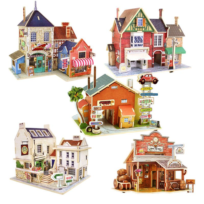 Wooden 3D Puzzle Jigsaw Beach House Villa Building Kids Educational Toys Gifts