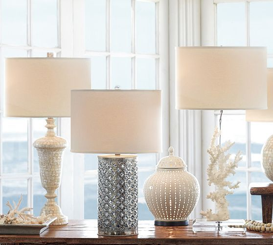 Perforated ceramic jar accent table lamp pottery barn