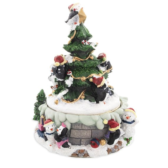 Penguin Christmas Tree: Penguins Decorating Spinning Christmas Tree Musical