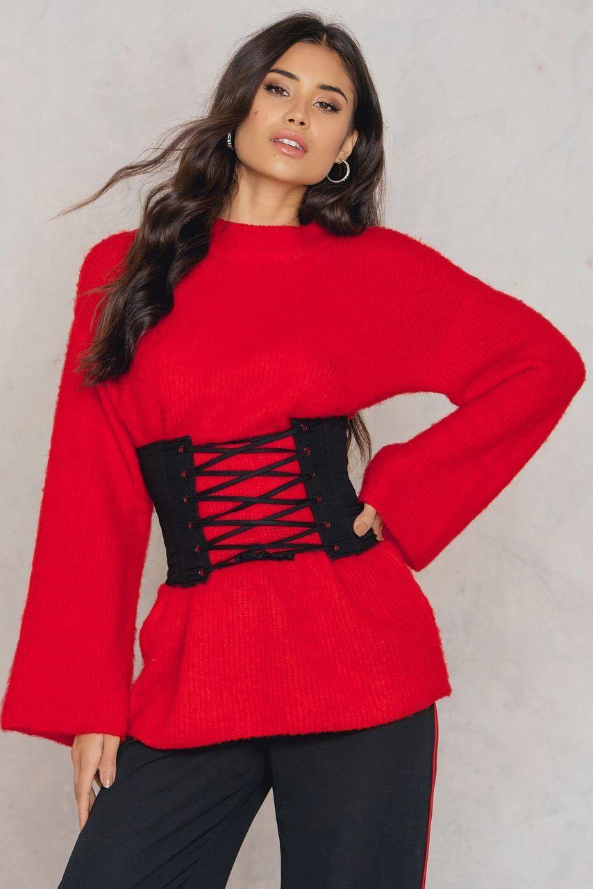 Eyelet corset black fashion clothes online stylish