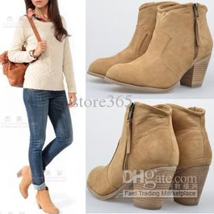 Cheap Women's Round Toe Low Heel Ankle Boots Buckle Around Ankle ...