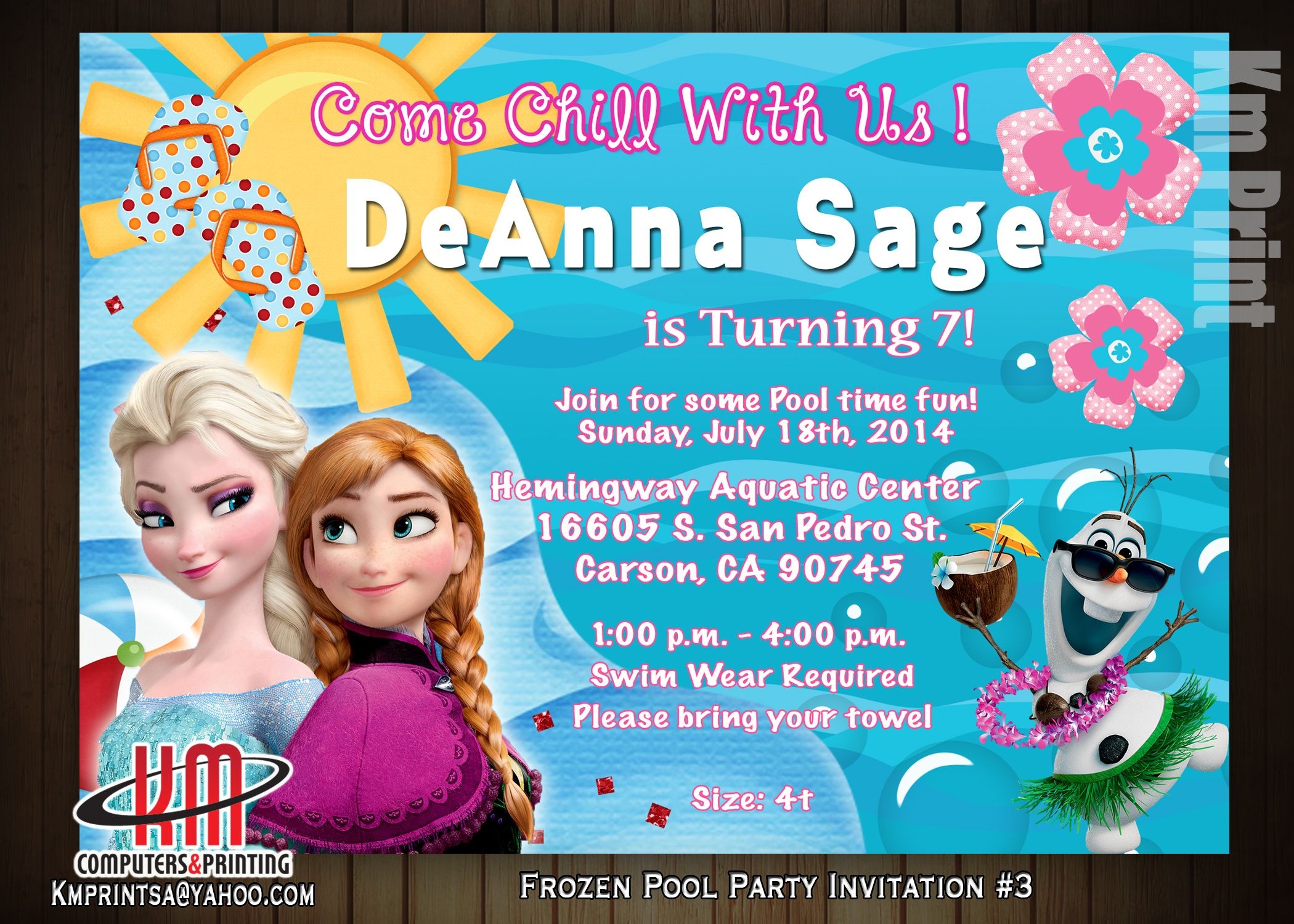 Frozen- Pool Party Invitation Digital $10 Printed available Email ...