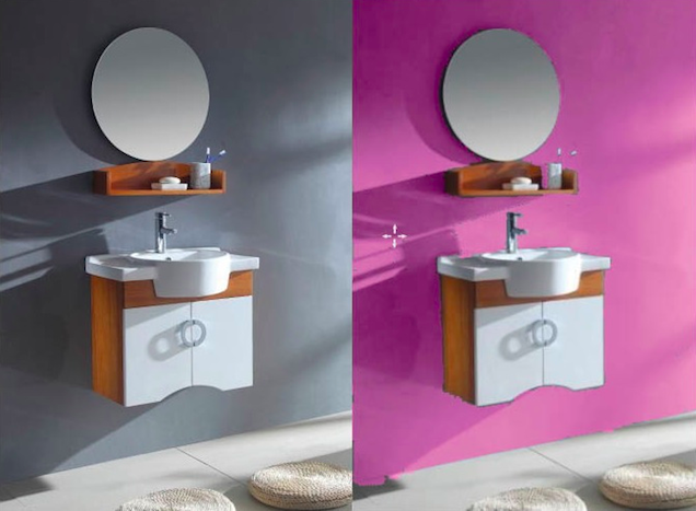 Pops of Color for Three On-Sale Bathroom Vanities --  This Fuchsia paint really makes the White and Maple wood pop. From the Pantone Universe collection. ( Kitchen Cabinet Kings )