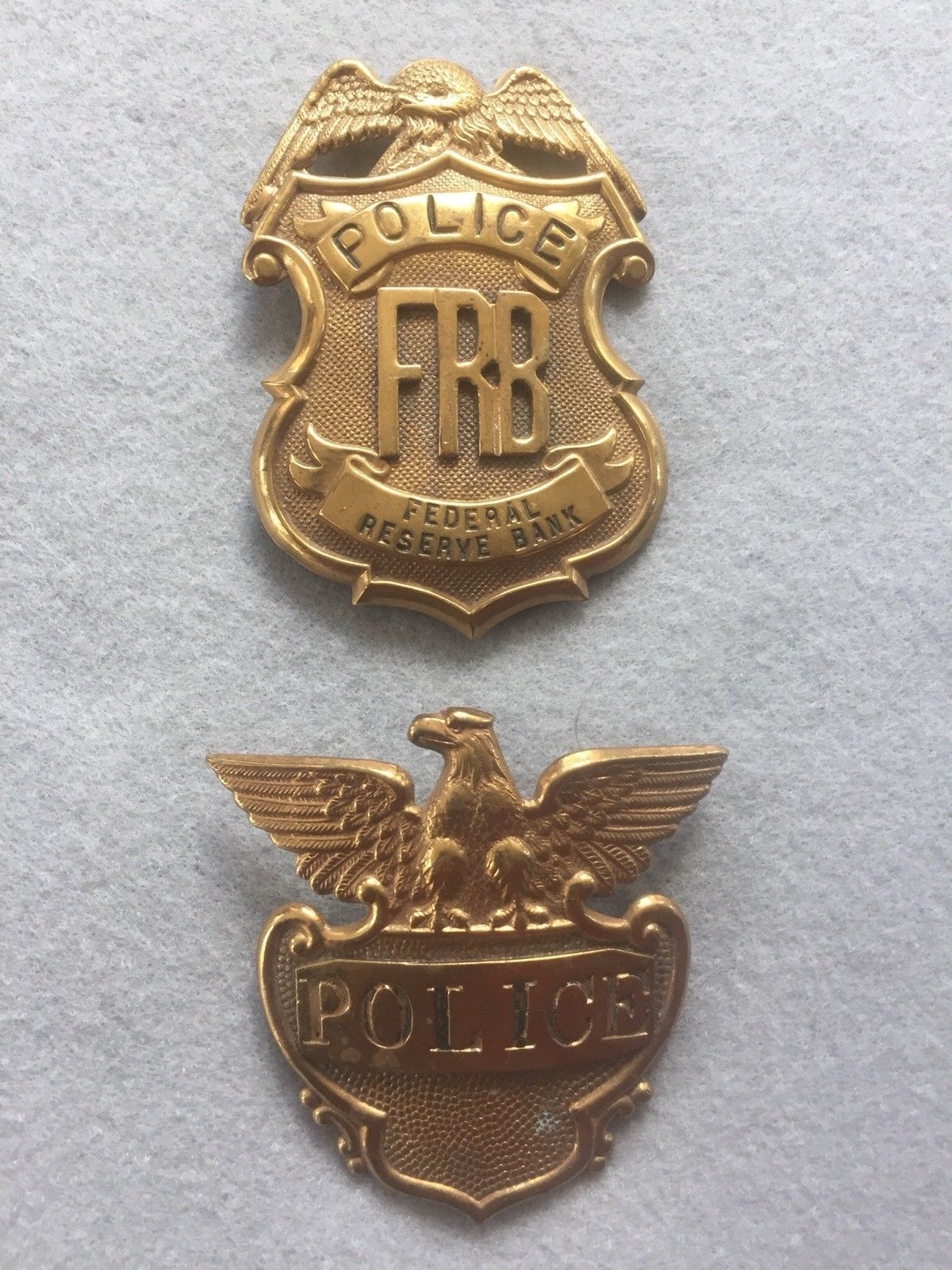 Federal Reserve Bank Police Shirt and Hat Badge   Thin Blue