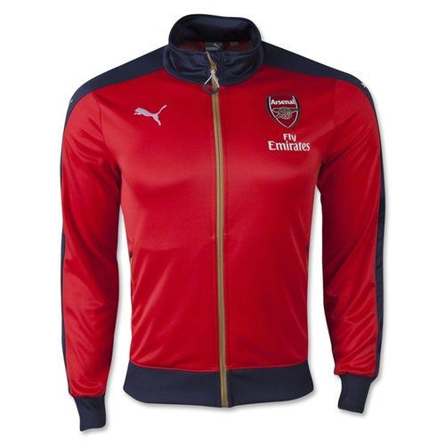 14365e54b74 Keep warm on the pitch with this new Puma Arsenal Stadium Jacket. Jacket  features Arsenal crest and Fly Emirates logo on the left chest and Puma Cat  on the ...