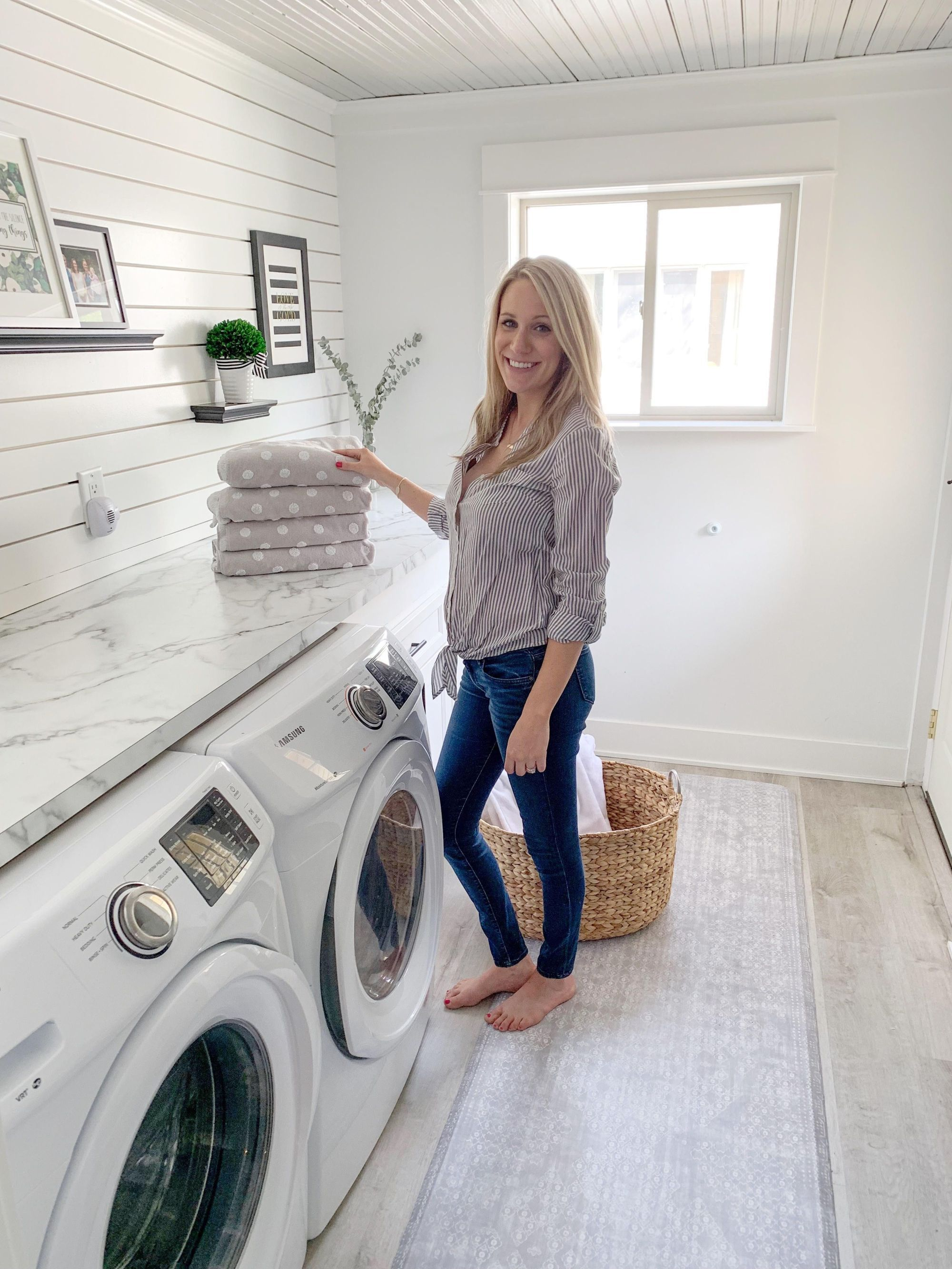 A Fresh And Clean Laundry Room With Namamat Spring Home Decor Preppy Spring Spring Home
