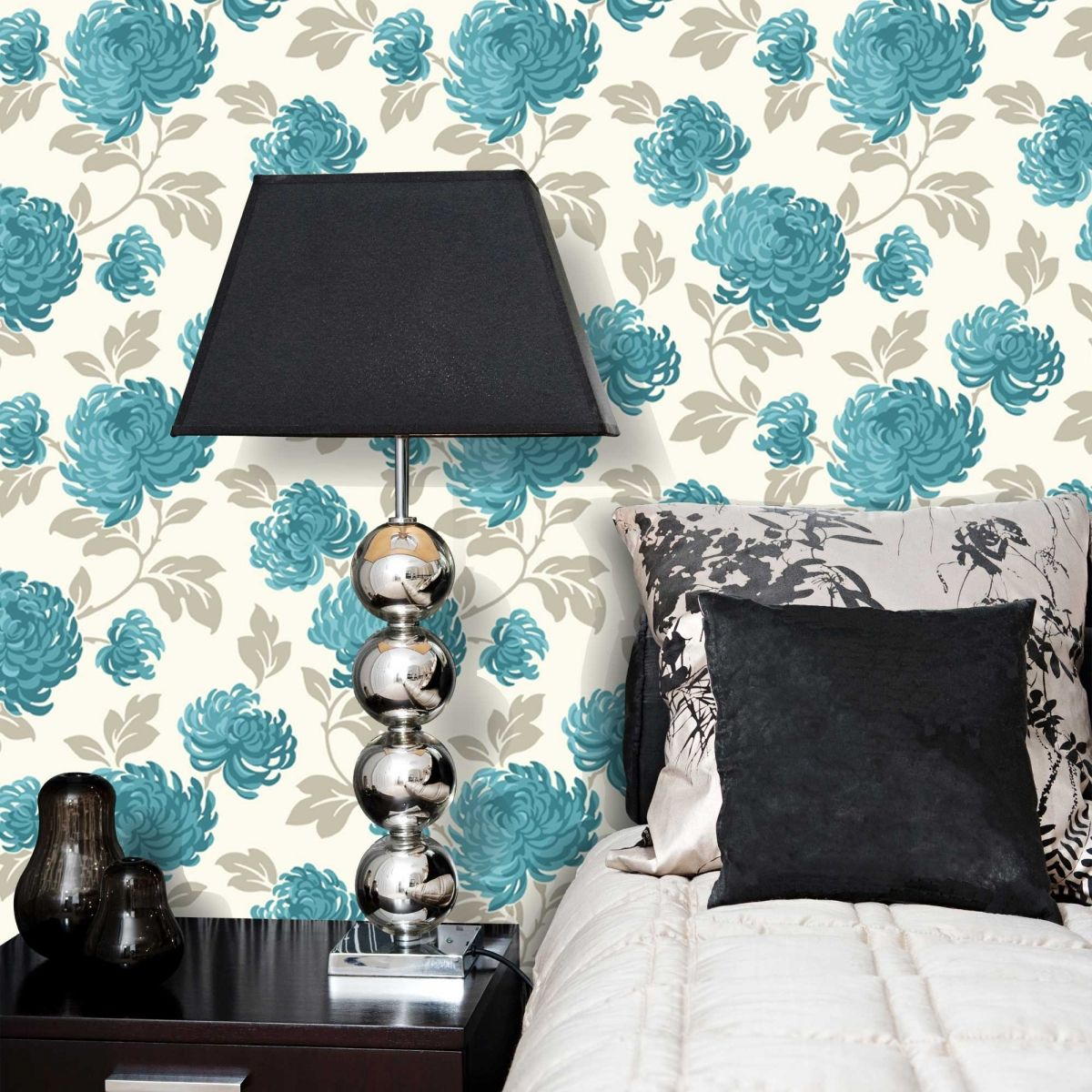 Teal And White Bloom Floral Wallpaper