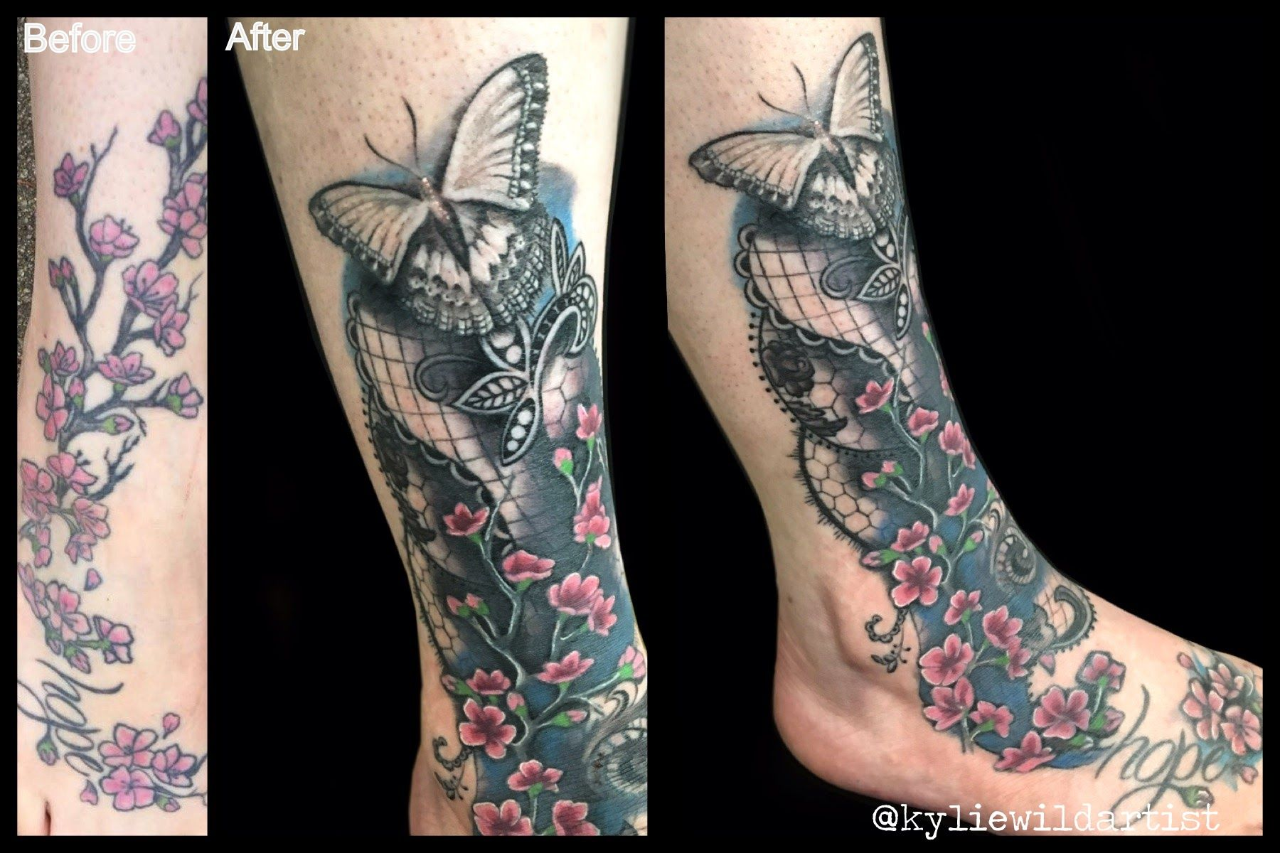 Cherry Blossom Tattoo Rework On Foot Ankle And Calf Lace