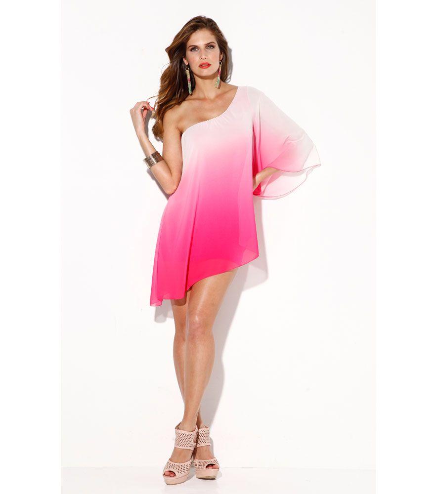 Vestido mujer asimétrico estampado degradado rosa Novedades T3 Venca ...