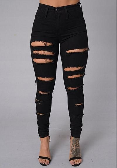 4d60c53eb0 Hot Sexy Super Tight Skinny Ripped White Jeans Women Black Denim Pants  Destroy Distressed Design