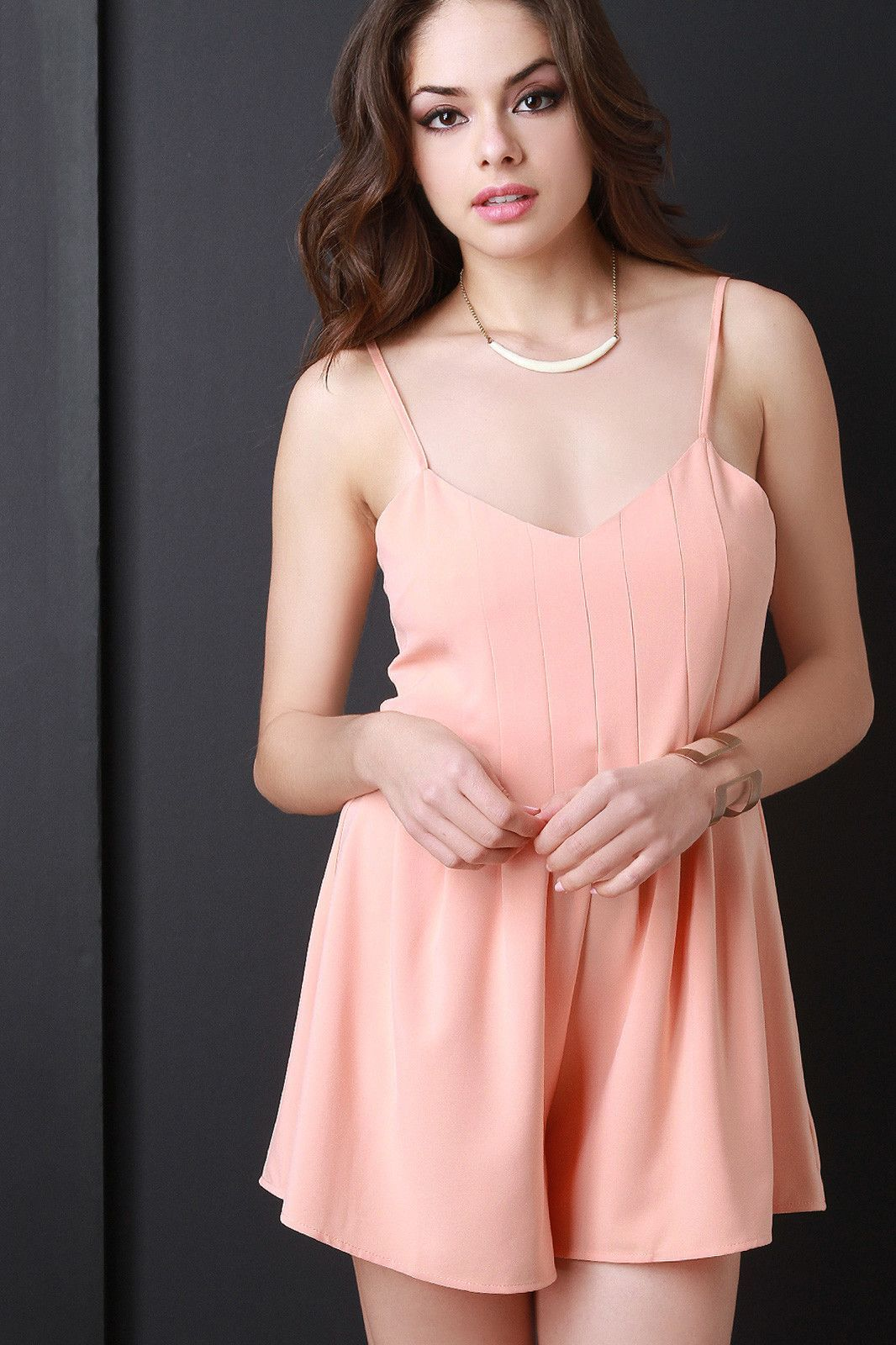 Sleeveless Pleated Romper
