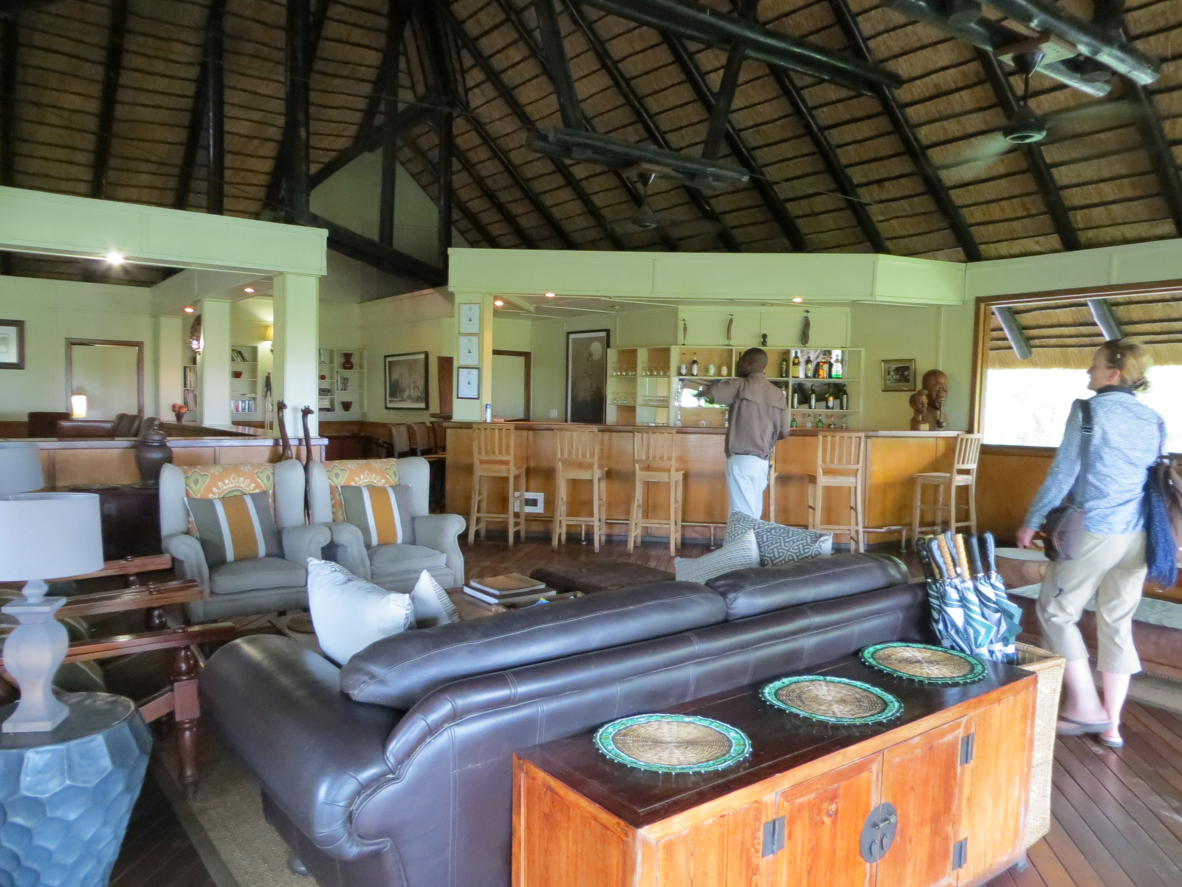 #CampMoremi's main building offers a quiet dining room, bar, and lounge beneath a beautiful thatch and timber ceiling.  #Botswana, #Africa