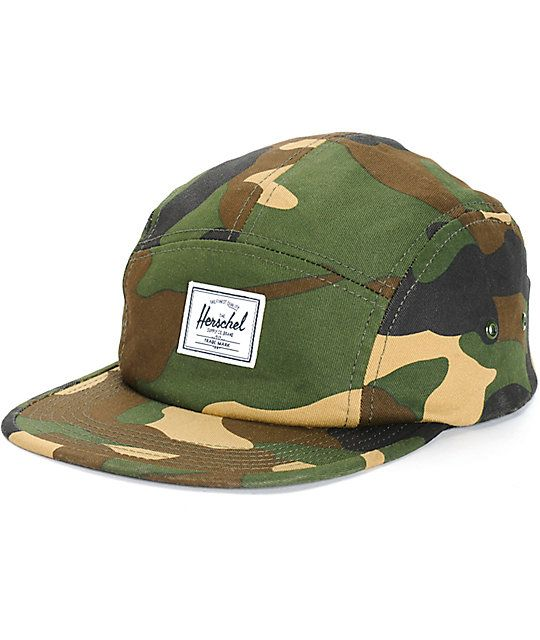 9f86e1961c9 Hit the streets with a stylish woodland camo print 5 panel crown for  low-profile comfort and a white Herschel Supply logo patch on the front.