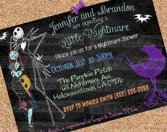 Halloween baby shower invitations couples by sfmprintables baby nightmare before christmas bring a book by ezpartyprintables filmwisefo