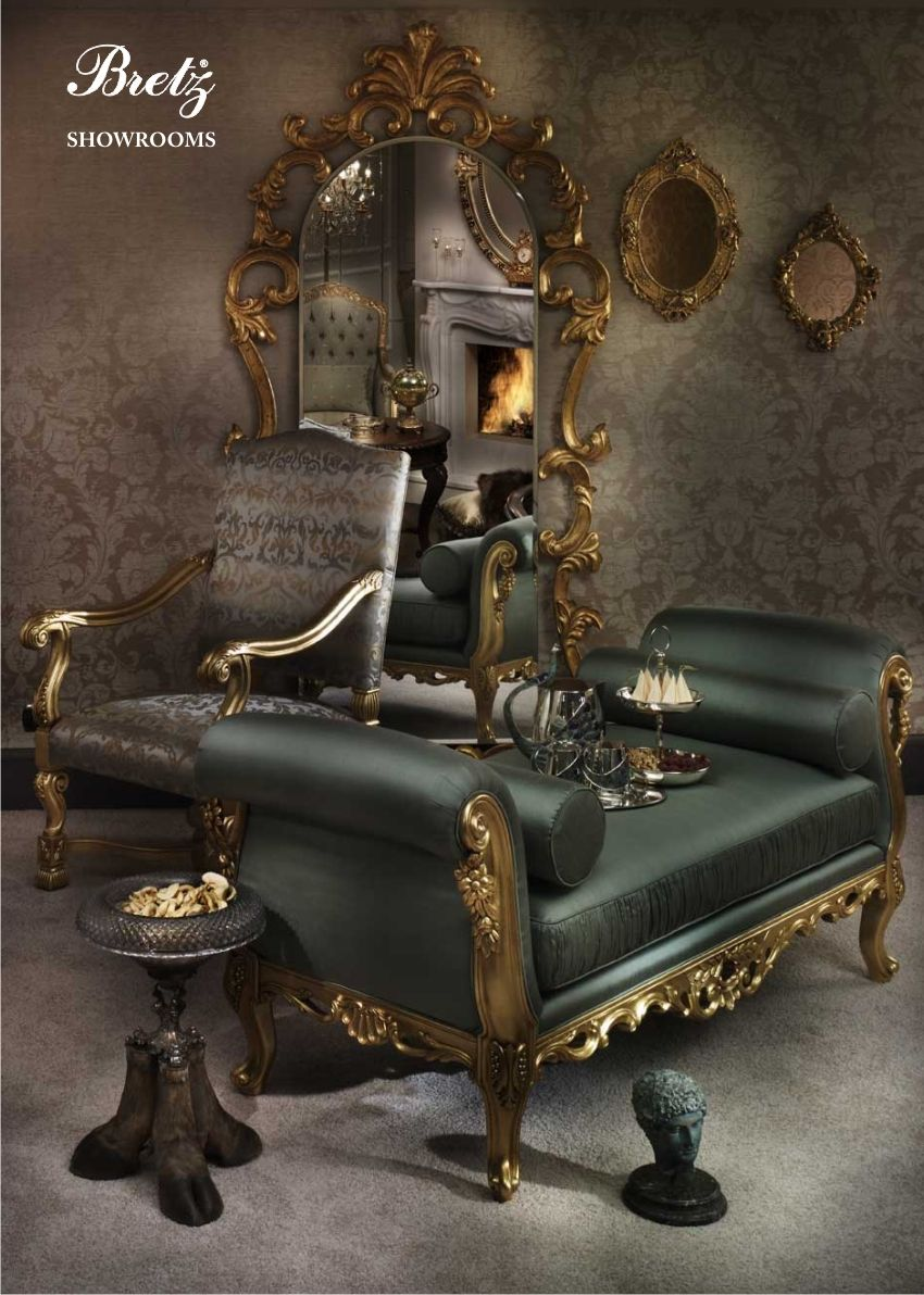 Bretz Style Luxury Dining Room Carved Sofa Luxury Furniture