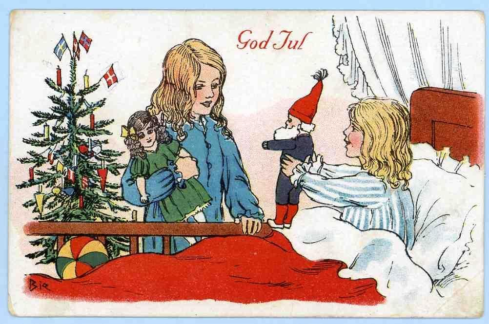 Norwegisch Frohe Weihnachten.Antique Christmas Postcard By Jens Peter Bie God Jul Postcard