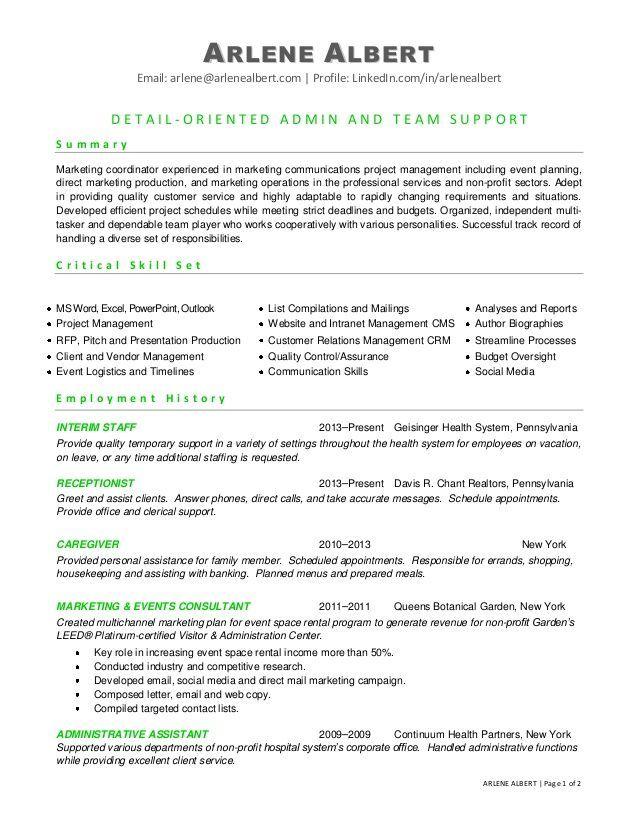 sample resume event coordinator fresher