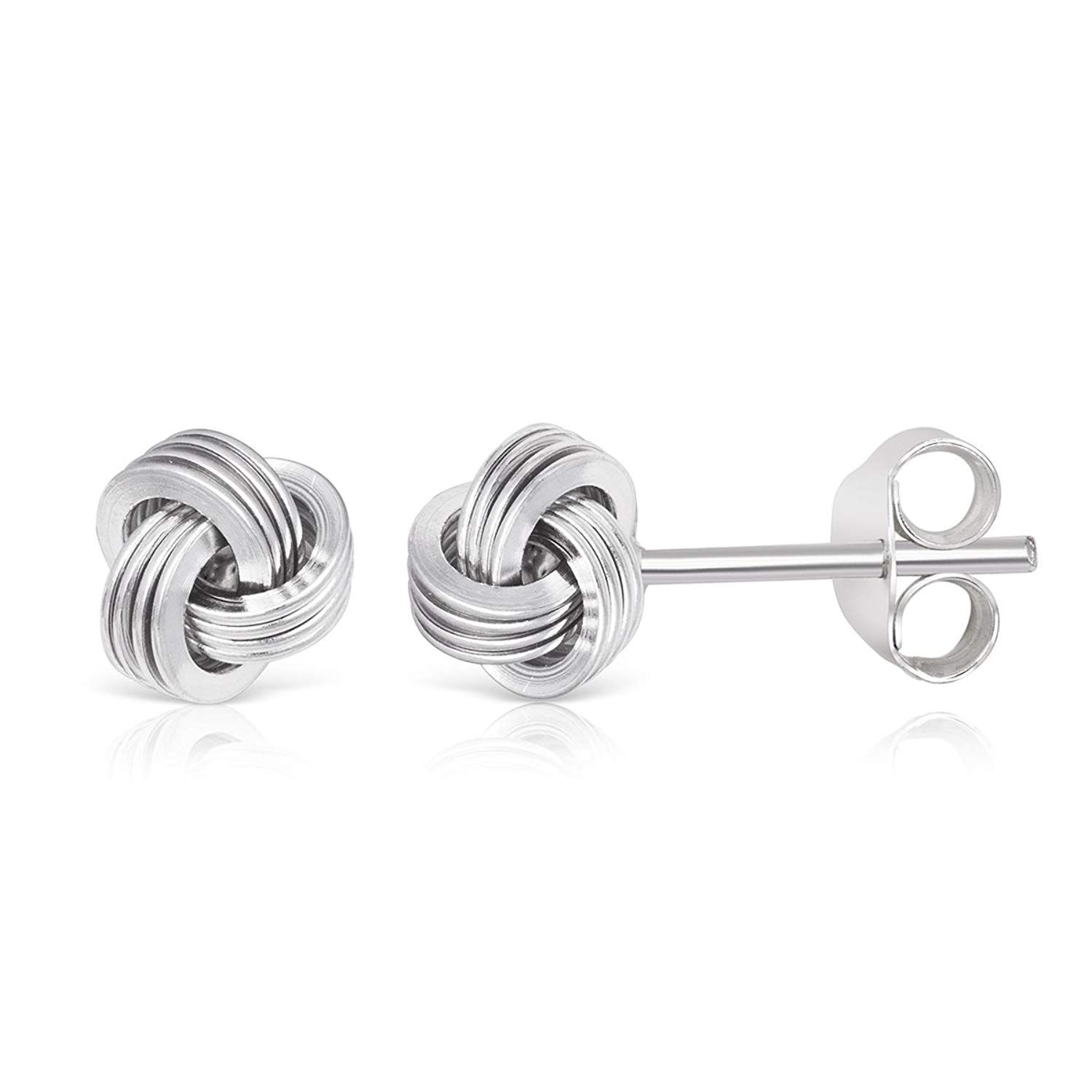 925 Sterling Silver Rhodium-plated Small Twisted Knot Heart Post Earrings
