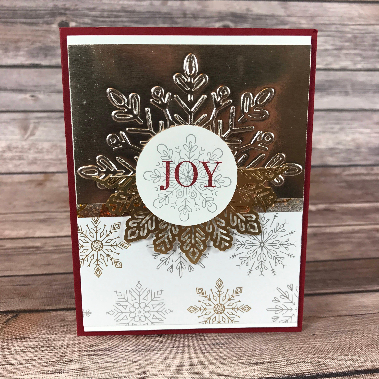 christmas card champagne foil joy christmas card class