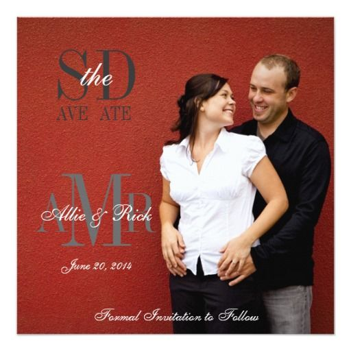 Monogram Photo Save the Date Wedding Announcement