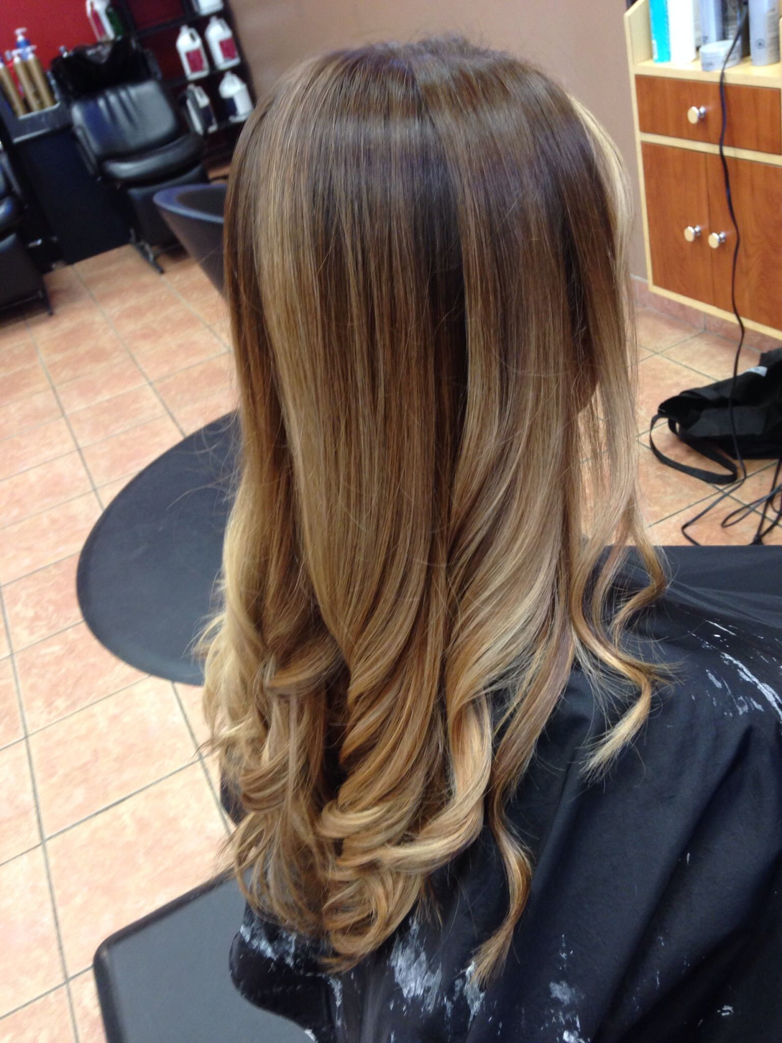 Black hair with blonde ends - Balayage Brown To Blonde Multi Tones Flatiron Curls